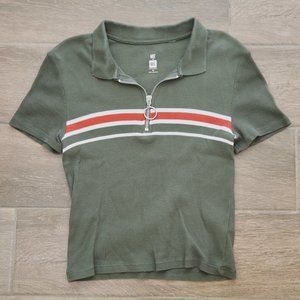 PacSun Me to We Essentials Cropped Zip-Up Polo, XS